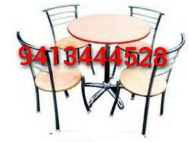 New round restaurant table with 4 chairs cafe furniture