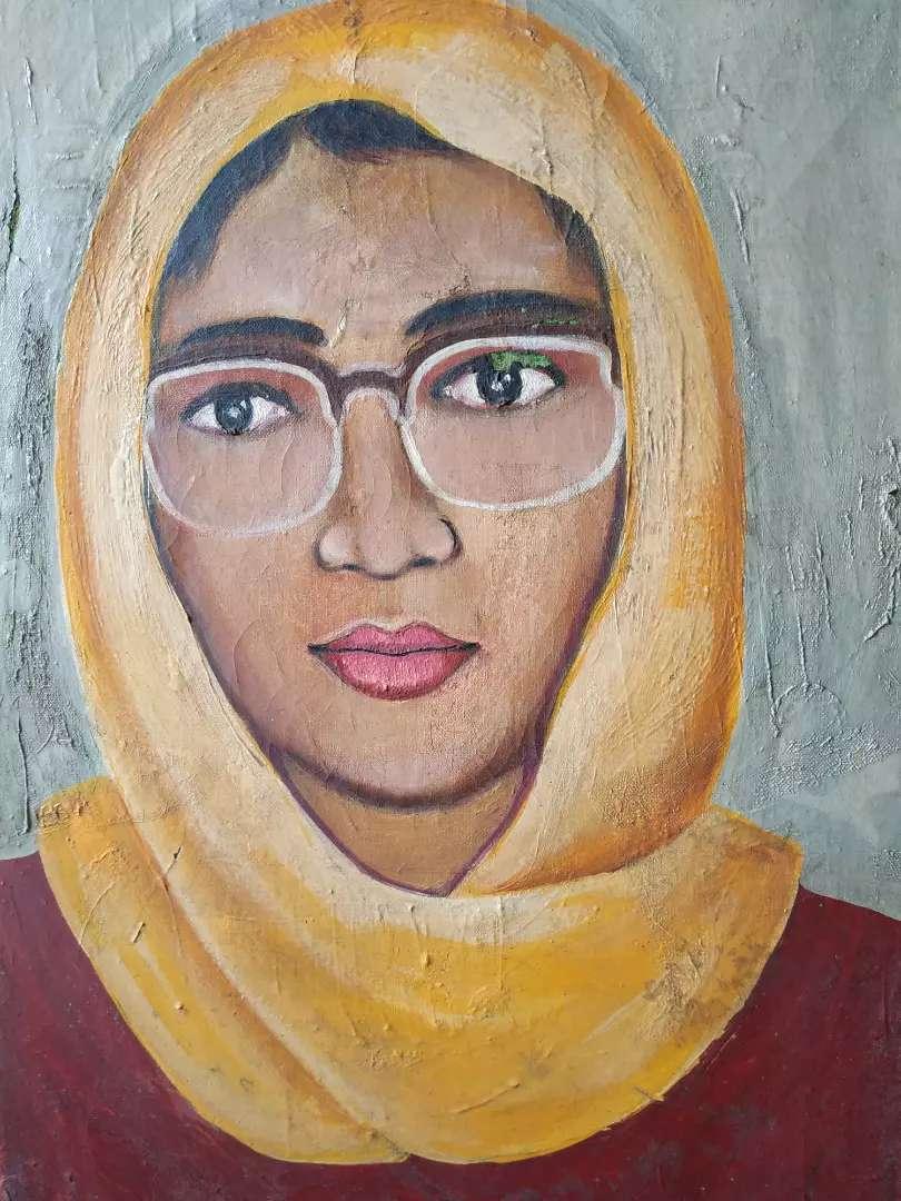 lukisan kanvas gadis ayu tertrra Ratno 92 lawas