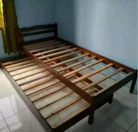 Ranjang dipan tempat tidur sorong 2in1 kayu ukuran single 90x200