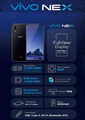 VIVO NEX in superb quality like new. 8GB RAM 128 GB ROM fast charging