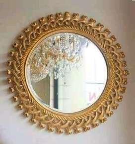 Hiasan dinding cermin kayu mewah