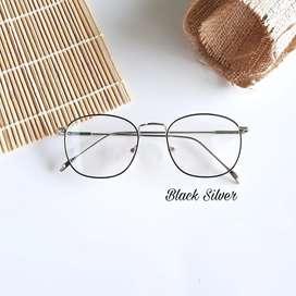 Kacamata minus frame besi black-silver gratis lensa minus antiradiasi