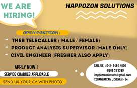 WE REQUIRED-TeleCaller Male/Female/Civil Eng/productAnalysisSupervisor