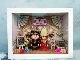 Seserahan dan mahar boneka flanel pengantin 3d