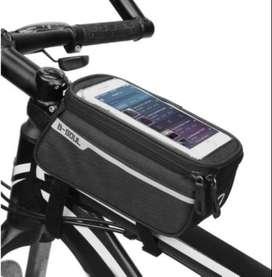 Tas Frame Depan Sepeda/Tempat HP  dengan Lubang Headphone