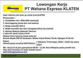 Driver Pickup & Delivery PT. Wahana Express