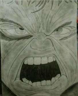 The Almighty Hulk pencil sketch