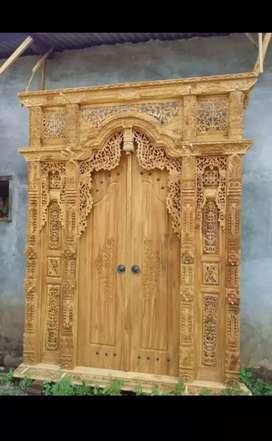 Pintu kusen gebyok kayu jati bnka