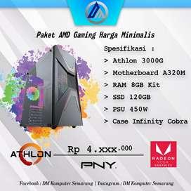 PC Rakitan AMD Gaming 3jtan Athlon 3000G RAM 8GB SSD 120GB Ready