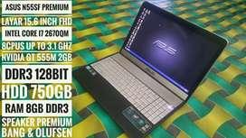 Premium class asus N55SF i7 Full HD Nvidia 2GB HDD 750GB Ram 8GB