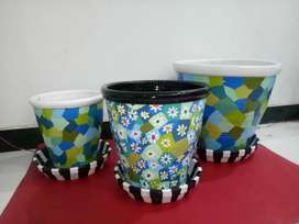 Hand crafted and painted pots