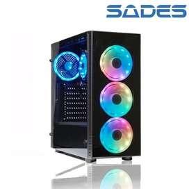 Casing Sades Cerberus Tempered Glass Gaming Case