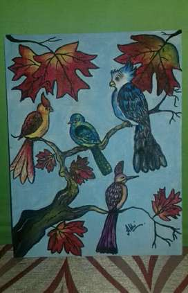 Cute birds canvas painting