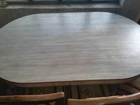 Teakwood dining table + 6 chairs