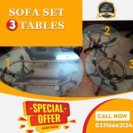 3 sofa set tables with glass top
