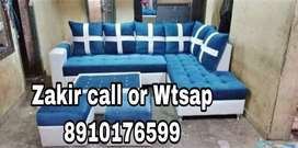 Blue and white sectional couch L shape Sofa