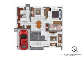 3BHK Villa of 1780 sqft area in 4.3 cents of Land.