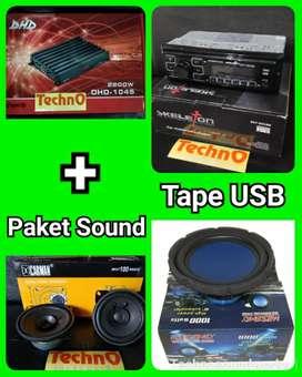Paket sound komplit + Tape 1 din USB for doubledin tv