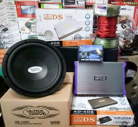 Plus Pasang,Subwoofer UltraDrive+Power ADS+Tweeter Owl+Box mdf+Kabel