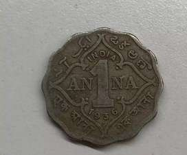 One 1 Anna Old British India Coin 1936