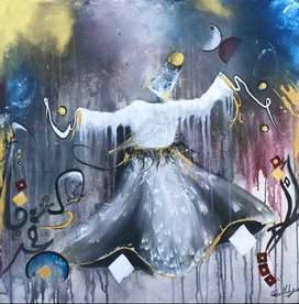 Acrylic on Canvas Dervish Whirling Painting