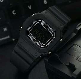 G shock digital full dark black fiture lengkap