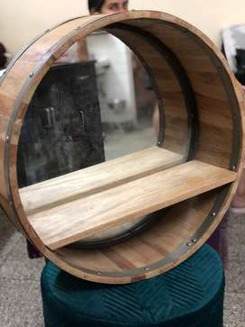 Bar shelf / plant shelf/ wall hanging barrel shape