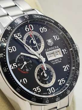 TAG HEUER CARRERA CHRONOGRAPH BLACK DIAL DAY DATE ALL ORIGINAL OMEGA
