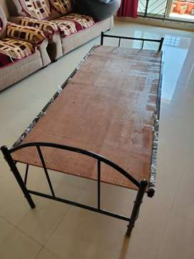 Two foldable Iron cots with plywood