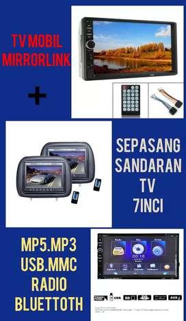 Paket Multimedia Tv Mobil Mirror Link + Sepasang Sandaran Tv 7 Inci