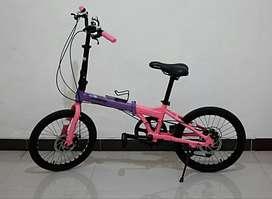 Sepeda lipat PACIFIC SPLENDID 3 purple pink seperti baru