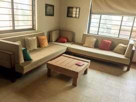 Brand new oak wood sofa set
