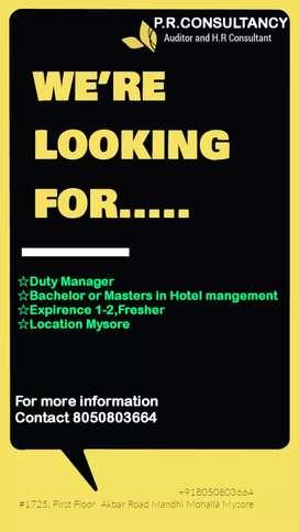 Job for hotel management candidates