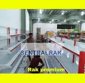 Rak gondola dinding premium merah minimarket sentralrak
