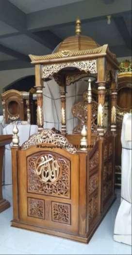 mimbar masjid ukir kayu jati mewah