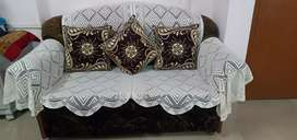 Light black sofa with cover and cushions (full set)