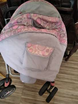 Pink colour pram for sale