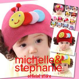 M&S ICTK45 - Topi Kupluk Hangat Anak Perempuan Desain Hati Lucu