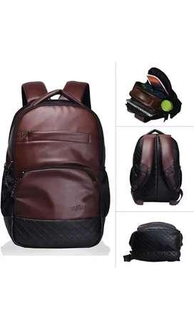 F Gear Leather Medium 25L Laptop Backpack Luxur (Brown)