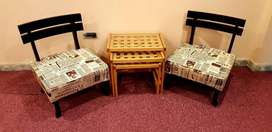 Talli bed room chairs low profile Shisham 2 months used
