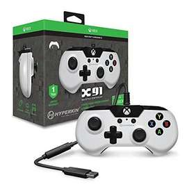 Hyperkin X91 Wired Gaming Controller - White - for Xbox One and Window