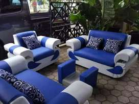 Rezeki Mebel_1set 321 sofa Gucci biru-putih
