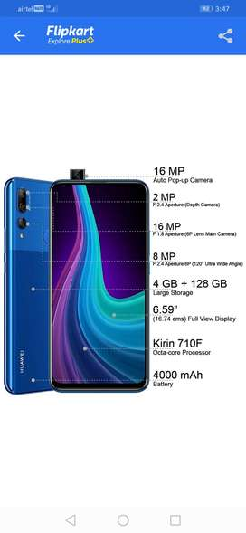 Huawei y9prime 2019 , blue color,use in 3 month, 710f processor
