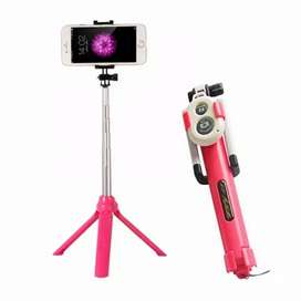 Tripod tongsis bluetooth 3 in 1 ready pink
