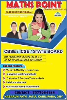 Tuition of Maths for class 8 to 12 & IIT JEE.
