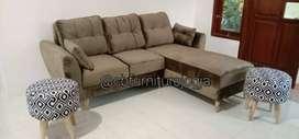 Sofa L scandinavian, stool bulat