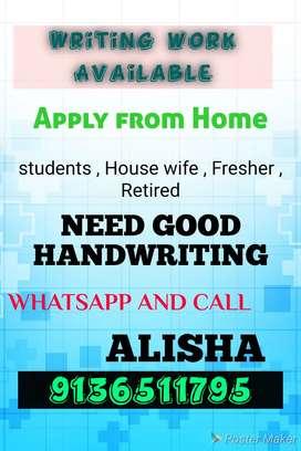 Manual hand writing home based job