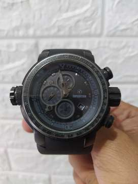 Jam expedition airbone full. Black gagah crono segel murah