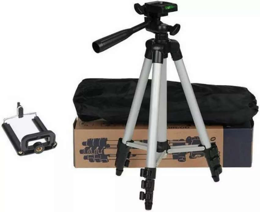 3110 - Tripod Stand For Dslr Camera With Mobile Holder - Black & Silve 0