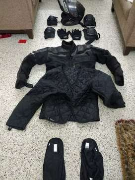 MT Helmet, Alpinestar Gloves, Shoe rain protector, Cramster Jacket
